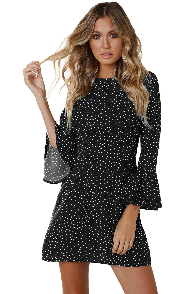 be20aae89a0 Черное в белый горошек мини платье с воланами на рукавах - купить ...