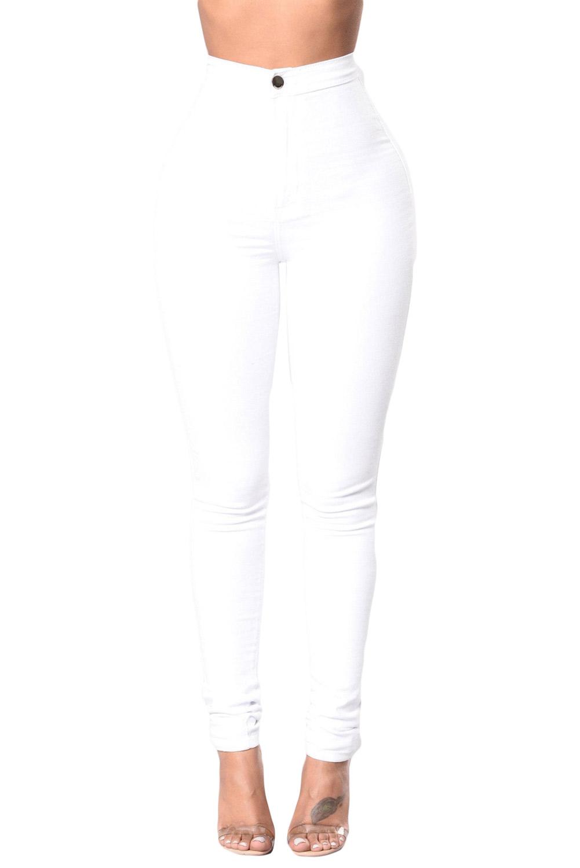 123fbead30a Белые джинсы-скинни с высокой талией и накладными карманами сзади ...