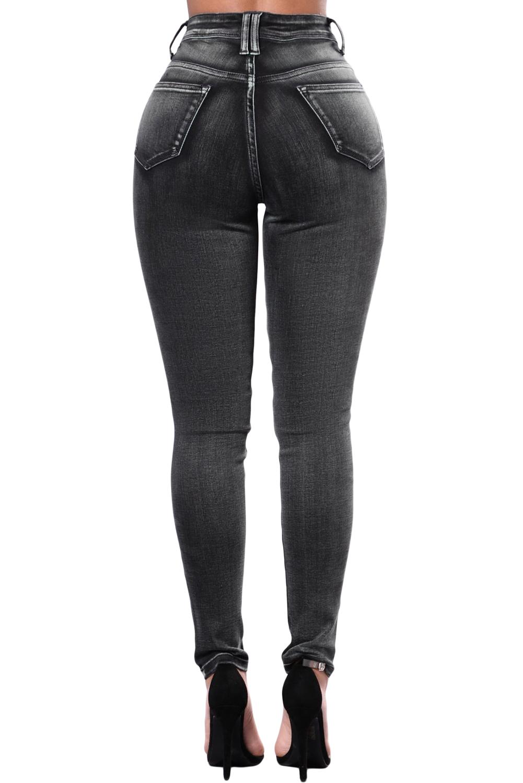 d53658ee7a2 Черные  линялые  джинсы-скинни с многочисленными разрезами - купить ...