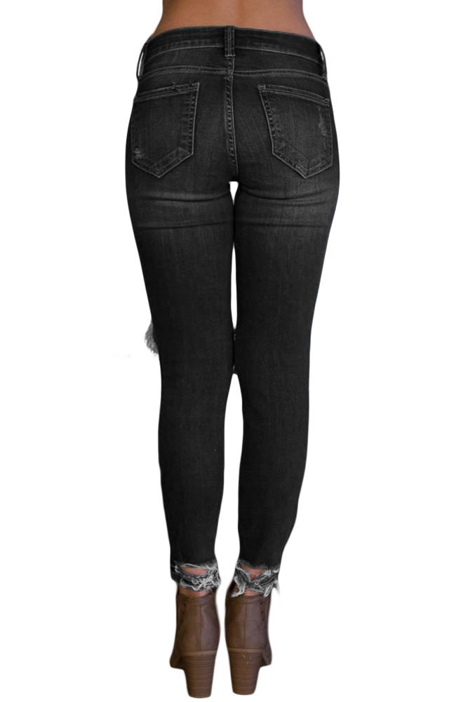 71fe00bf9b4 Черные джинсы-скинни с дырками и потертостями - купить наложенным ...