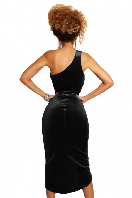 773da357f7c Черное бархатное платье на одно плечо с вырезом-запахом на юбке ...