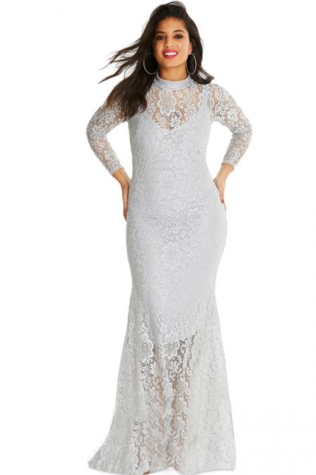 193b6290be6 Белое кружевное платье-русалка с длинными рукавами - купить оптом