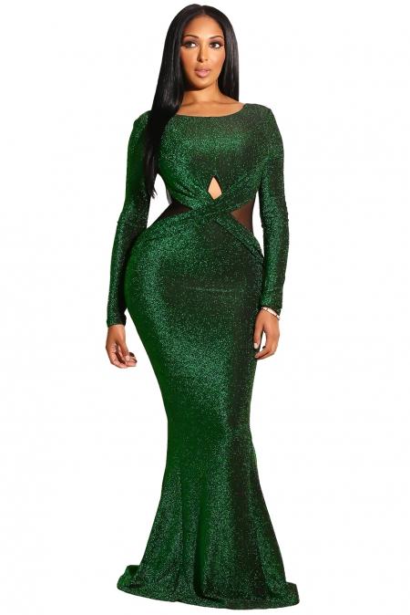 6947cf7e1b1 Изумрудное блестящее платье-русалка с длинными рукавами и открытой спиной
