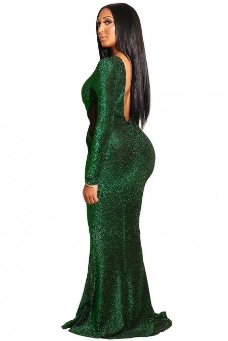 e6000c9b5ac Изумрудное блестящее платье-русалка с длинными рукавами и открытой спиной