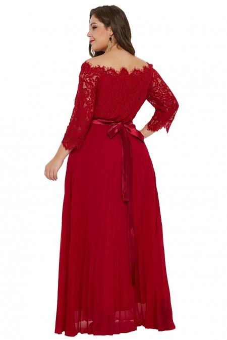 131453a8861 Красное шифоновое макси платье с атласным поясом и кружевными рукавами