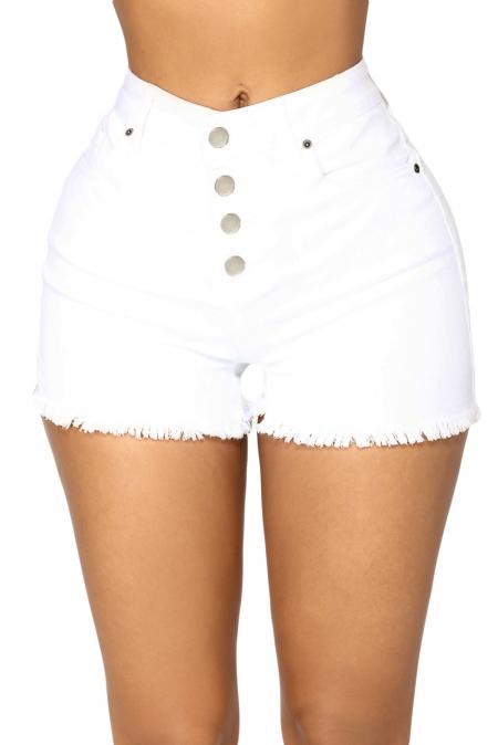 8f53f6f864ea Белые джинсовые шорты с высокой талией и застежкой на пуговицы