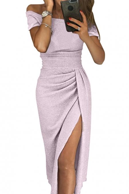 1cdd403366544 Сиреневое блестящее платье-футляр с драпированным запахом на юбке ...