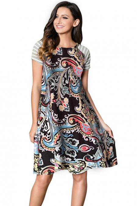 afcb9839099 Черное повседневное платье с винтажным кораллово-синим принтом - купить  наложенным платежом