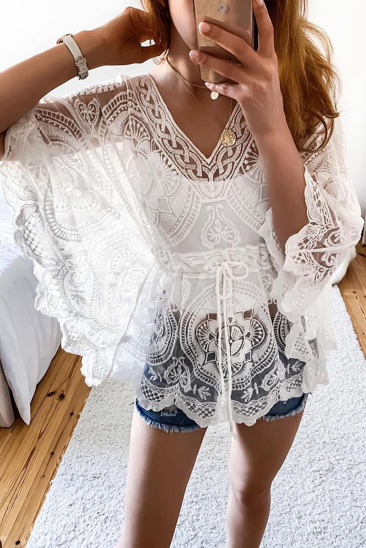 кружевное пляжное платье
