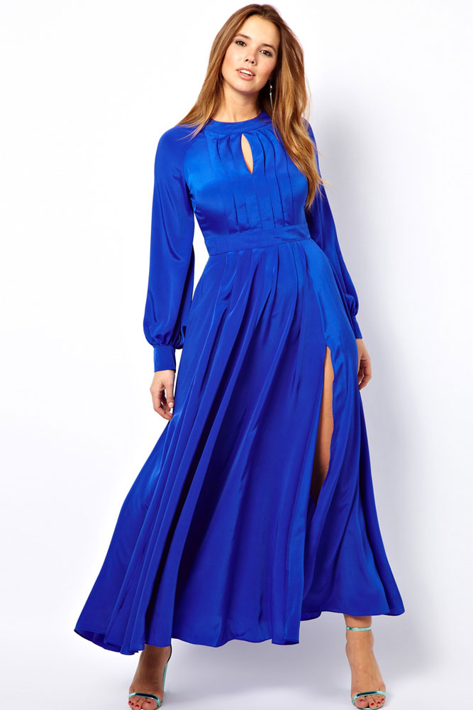 Babe Blue Plus Size Frilled Maxi Dress with Bell Sleeves