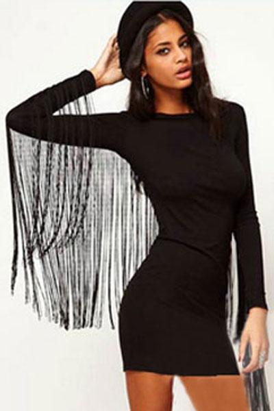 7c7d44e55d8 Черное платье с бахромой на рукавах - купить наложенным платежом