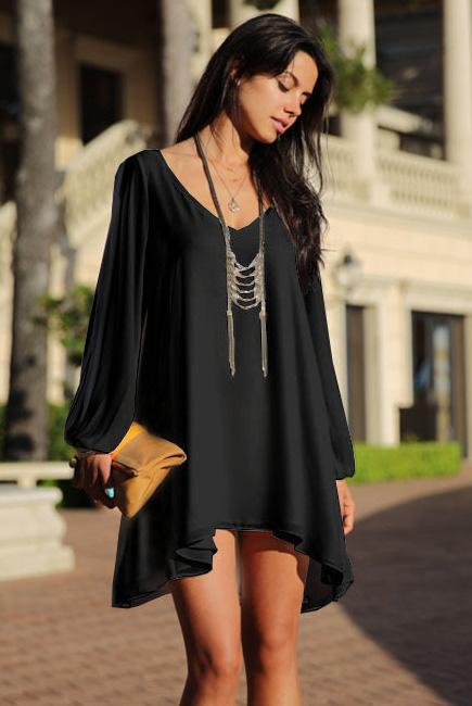 24d1cdd2a17 Черное асимметричное платье оверсайз с рукавами  баллон  - купить ...