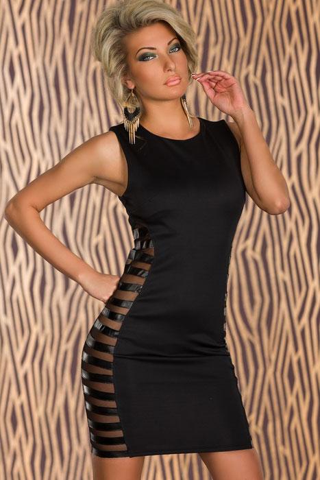 d80a7da6ad6 Черное платье с прозрачными боковыми полосками - купить наложенным ...