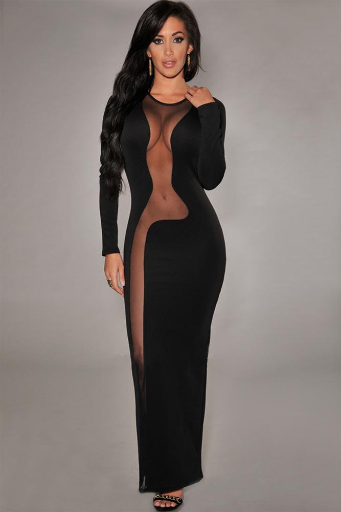 Платье длинное с прозрачными вставками