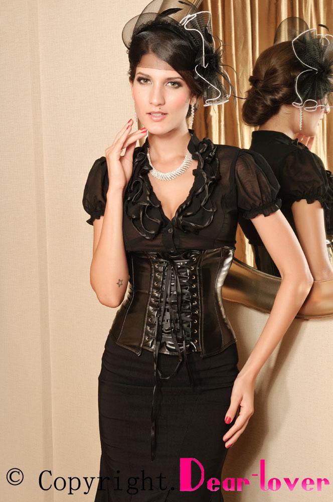 Черный кожаный корсет под грудь со шнуровкой спереди - купить ... 37fcb16a1a1