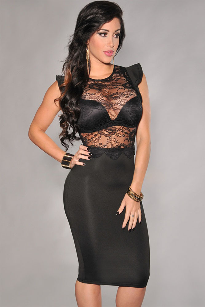 Винтажные черные платья с кружевным воротником