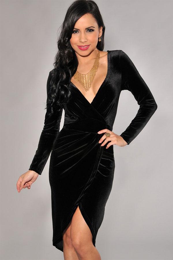 24d0c5328c1 Черное вельветовое платье с асимметричным подолом - купить ...