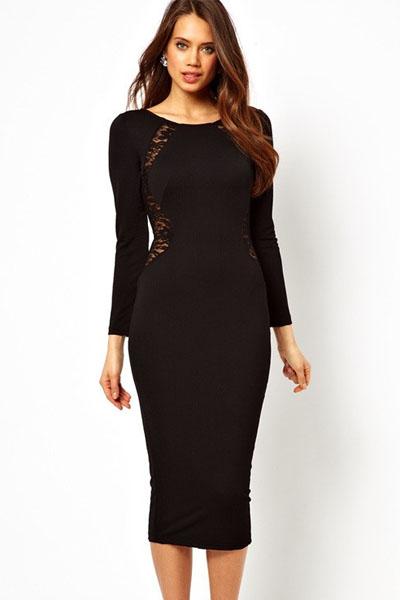 a46314c0f05 Черное платье миди с кружевными вставками - купить наложенным платежом