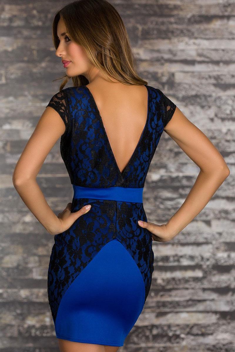 Платье Синие С Черными Кружевами