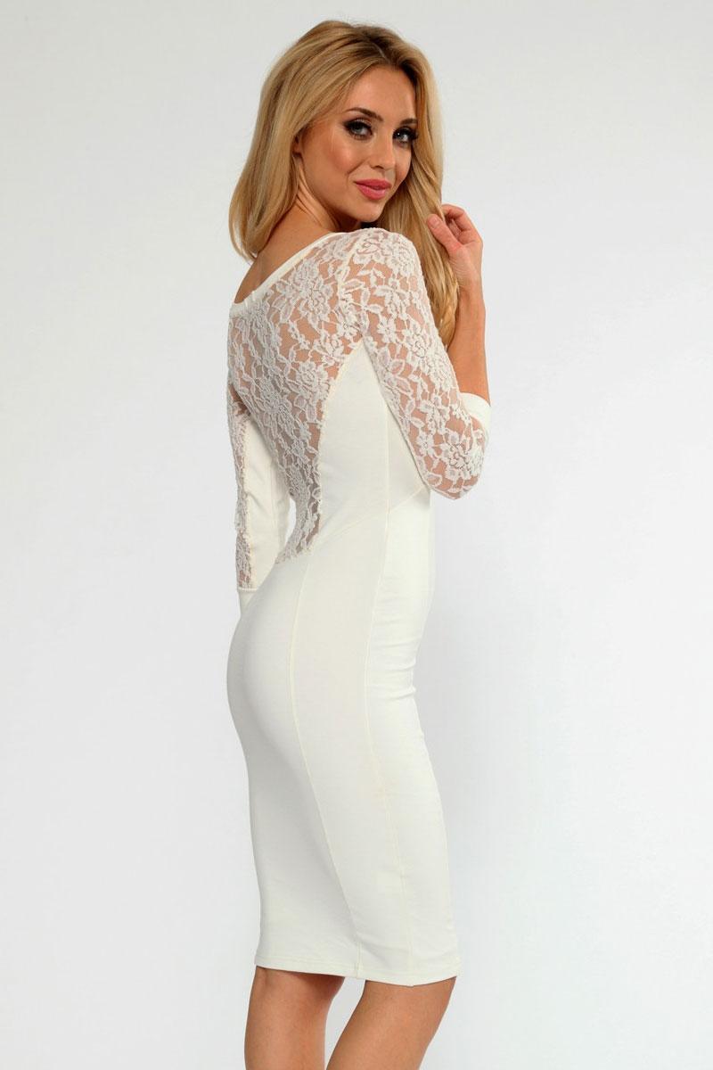 Платье белое со вставками