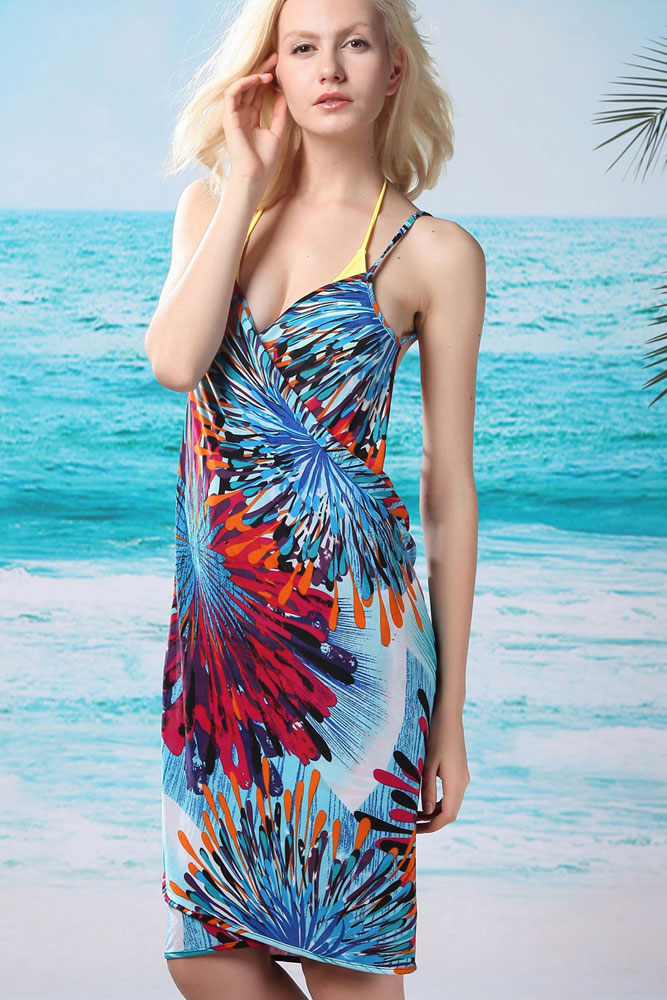 Flaming Fireworks Front Beach Cover-up Blue
