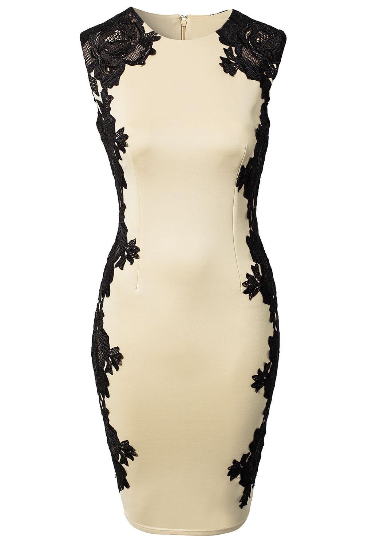 Платье с черными кружевами по бокам