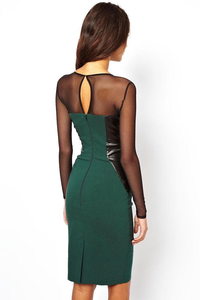 Зеленое платье с кожаными
