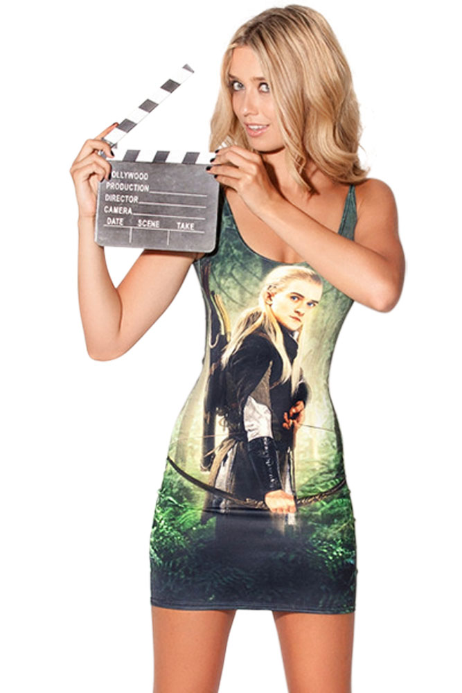 Handsome Legolas Print Mini Dress