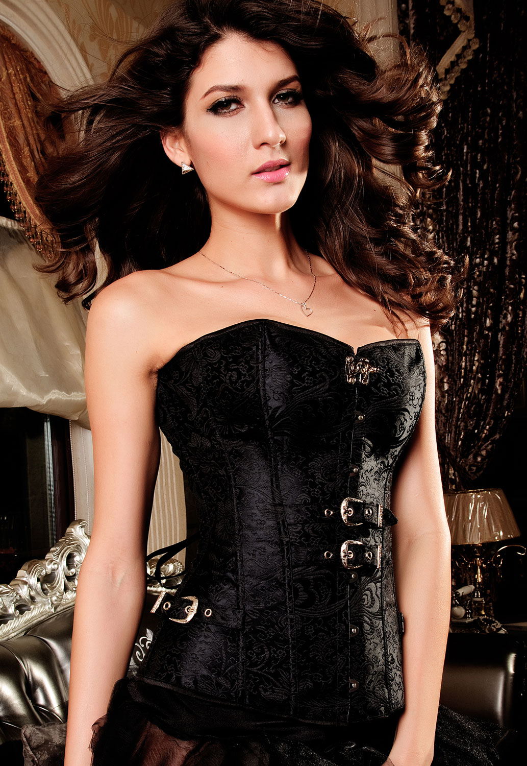 Korzeti Luxurious-Pteris-Jacquard-Corset-Black-1-S-LC5284-2