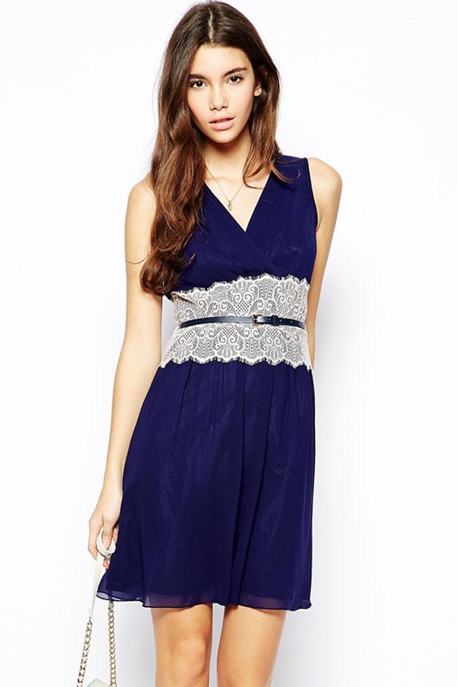 5b9adc35bbc Синее платье с белым кружевом на талии - купить наложенным платежом
