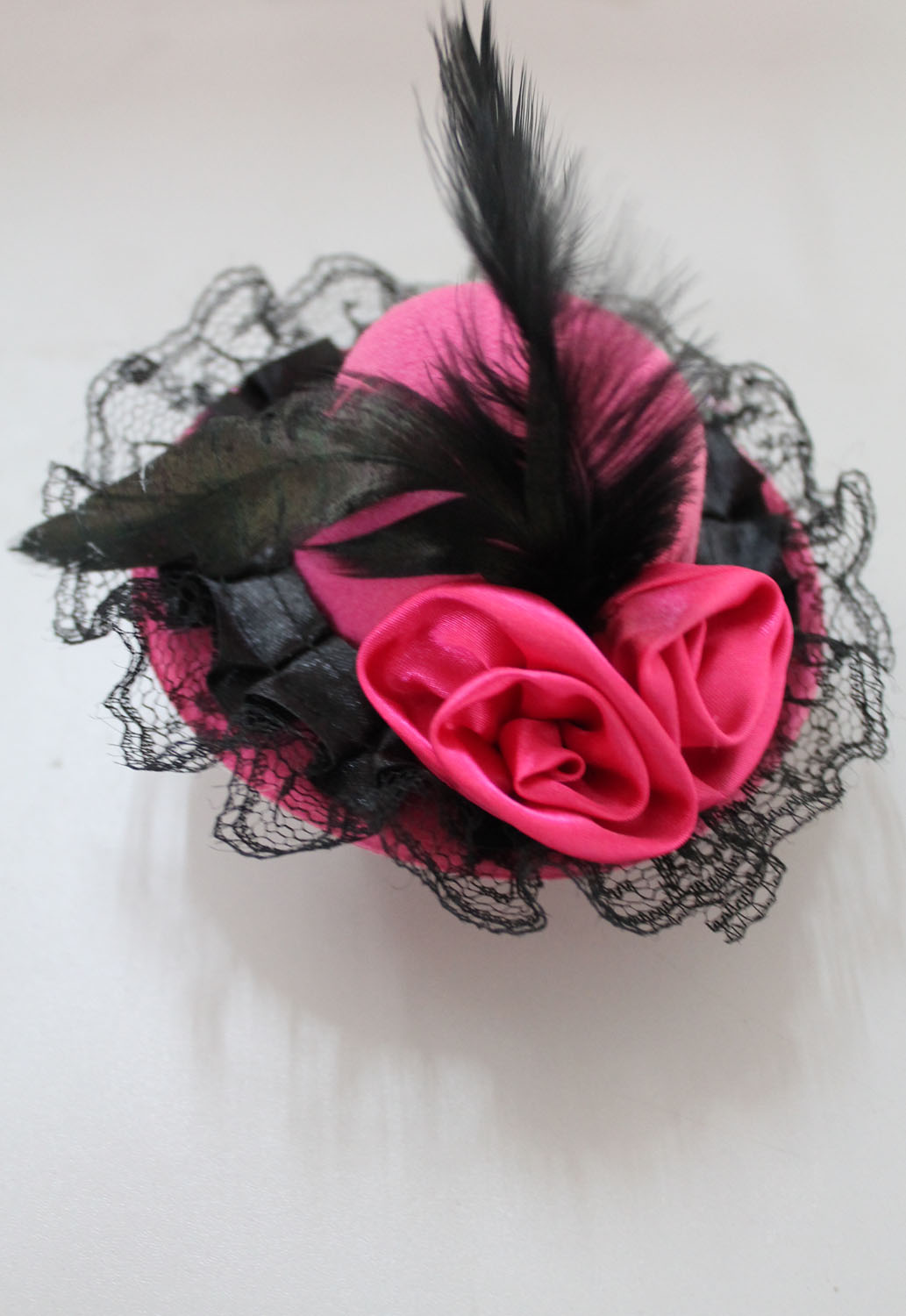 Pink Mini Top Hat With Flowers and Lace