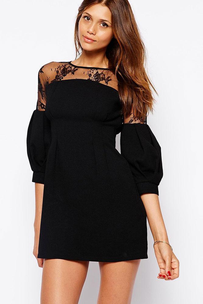 Мини черные платья с рукавом