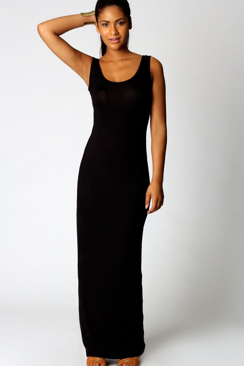 Черное платье на лямках фото