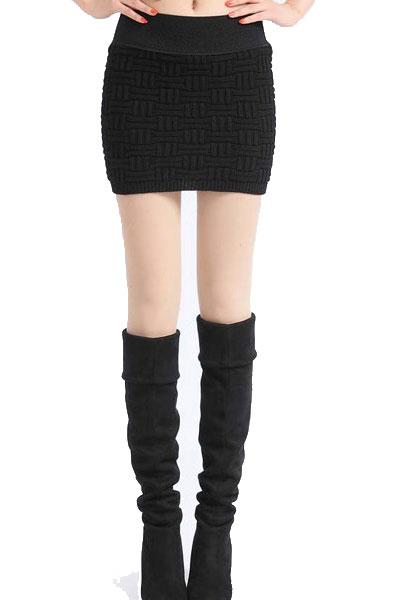 Вязанная черная юбка