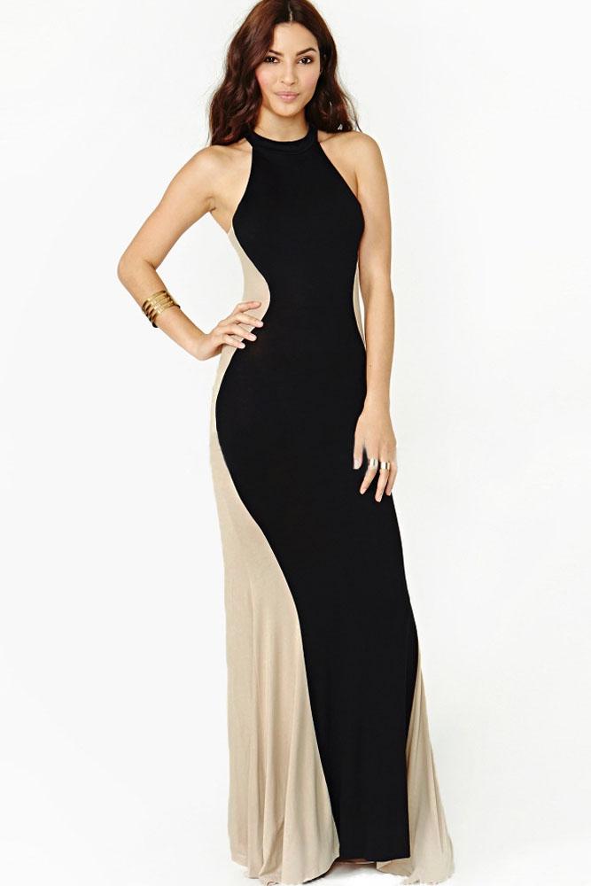 Черное платье в пол