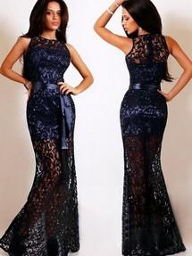 Платья кружевное в пол синие