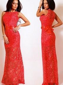 Платье гипюровое длинное красное