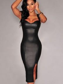 Кожаное приталенное платье