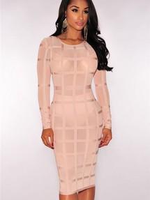 1b6c3335ac4ba02 Купить бежевое вечернее бандажное платье недорого наложенным ...
