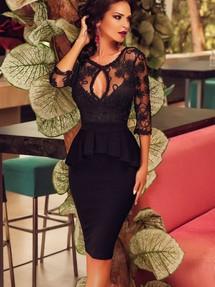 Черное коктейльное платье миди фото