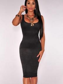 Черное платье футляр с красным подкладом