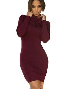 fe4b9019bac Быстрый просмотр · Бордовое платье-водолазка мини с воротником