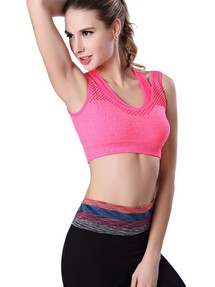 Rosy Double Straps Mesh Insert Breathable Crop Top