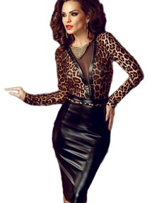 Sexy Animal Print Leather Splice Bodycon Midi Dress