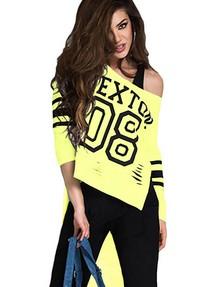 ef64b542f2e7b Быстрый просмотр · Желтый асимметричный женский топ с черной стильной  надписью