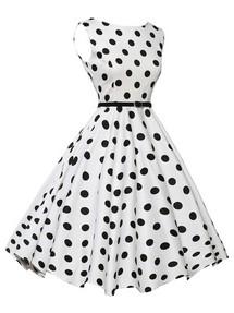 2fdc5a4f855 Быстрый просмотр · Белое в черный горошек винтажное платье с пышной юбкой
