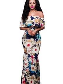 7d2caae10c28f86 Купить бежевое вечернее платье с цветочным принтом недорого ...