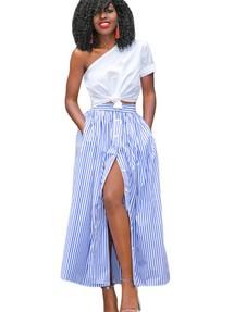 94c130ad307 Синяя в тонкую белую полоску юбка-колокол с застежкой на кнопки спереди
