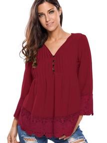 31bfb773f54 Доставим послезавтра-10%. Гранатовая свободная блуза с пуговицами и  кружевными оборками