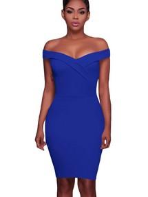 5da6896c748 Быстрый просмотр · Синее облегающее платье со спущенными рукавами-отворотом